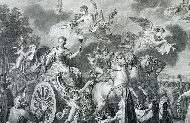 """Аллегория Ж.Ж.Авриля """"Екатерина II путешествует в своем Государстве в 1787 г."""""""