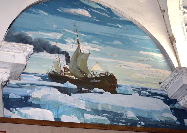 Настенная роспись в зале Музея Арктики и Антарктики