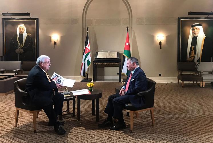 Первый заместитель генерального директора ТАСС Михаил Гусман и король Иордании Абдалла II